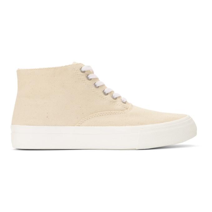Image of Comme des Garçons Homme Beige Canvas Mid-Top Sneakers