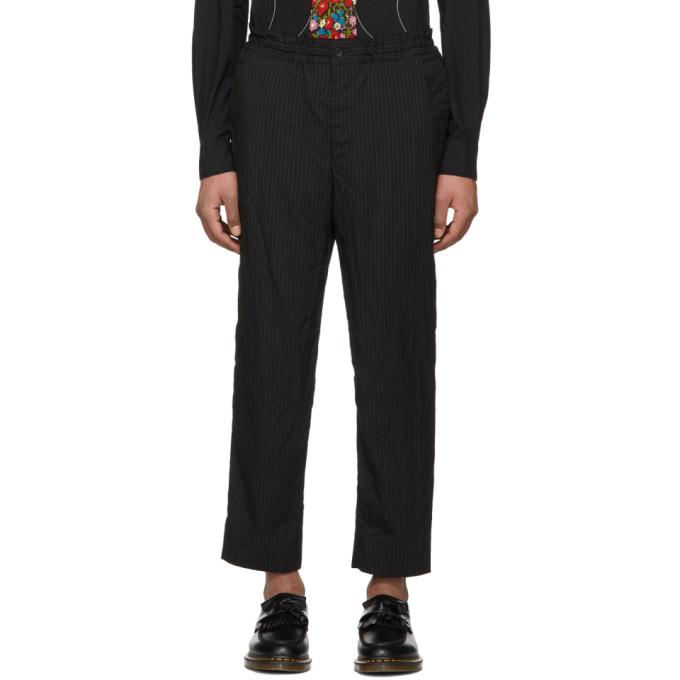 Image of Comme des Garçons Homme Deux Black Pinstripe Elastic Waist Trousers