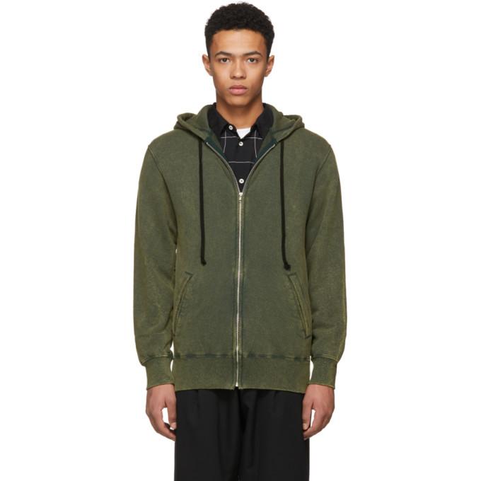 Image of Comme des Garçons Homme Deux Green Zip-Up Hoodie