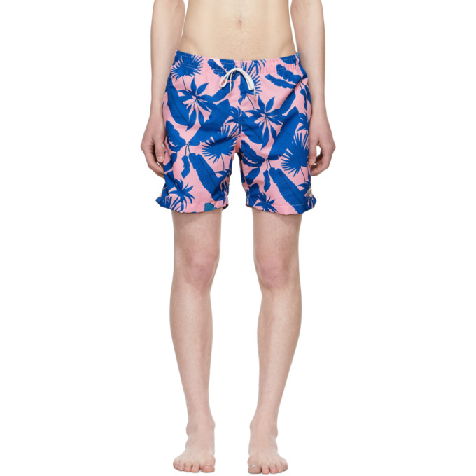 Image of Bather Pink & Blue Tropical Palms Swim Shorts