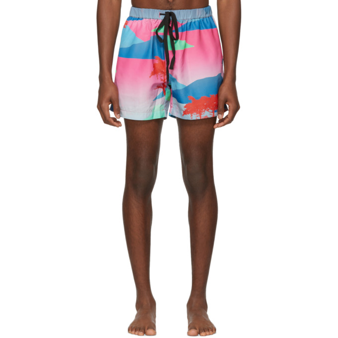Image of Double Rainbouu Multicolor Moon Safari Swim Shorts