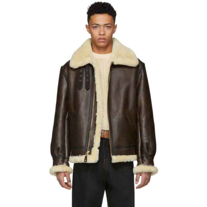 Image of Schott Brown B-3 Shearling Jacket