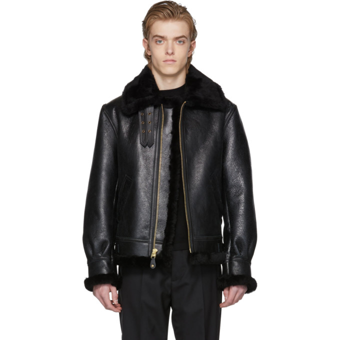 Image of Schott Black B-3 Shearling Jacket