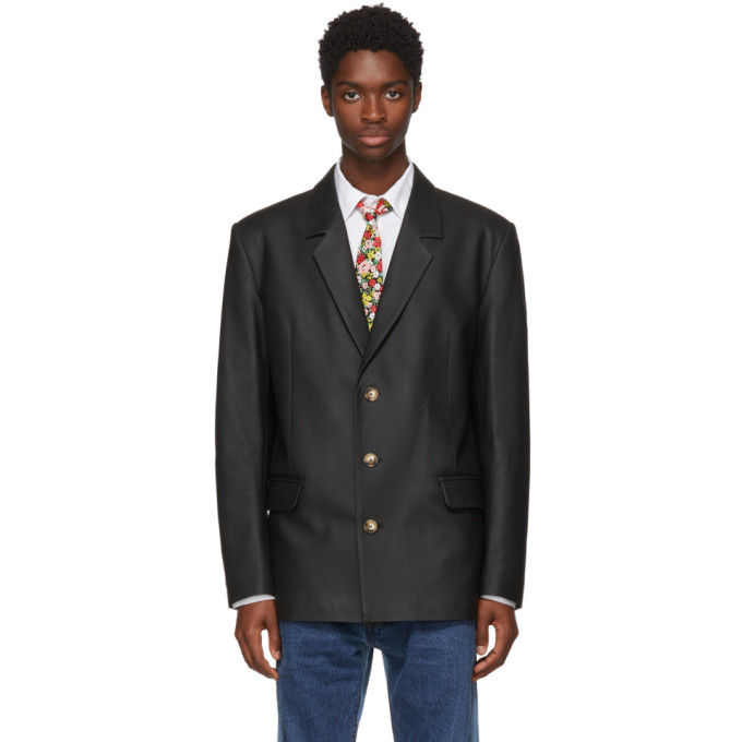 Image of Anton Belinskiy Black Leather Blazer