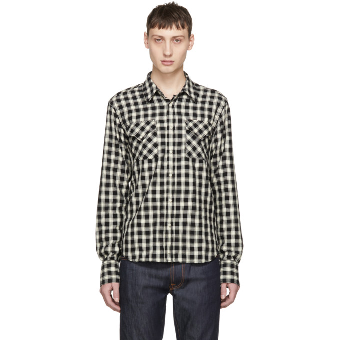 Image of Nudie Jeans Black & Off-White Check Jonis Western Shirt