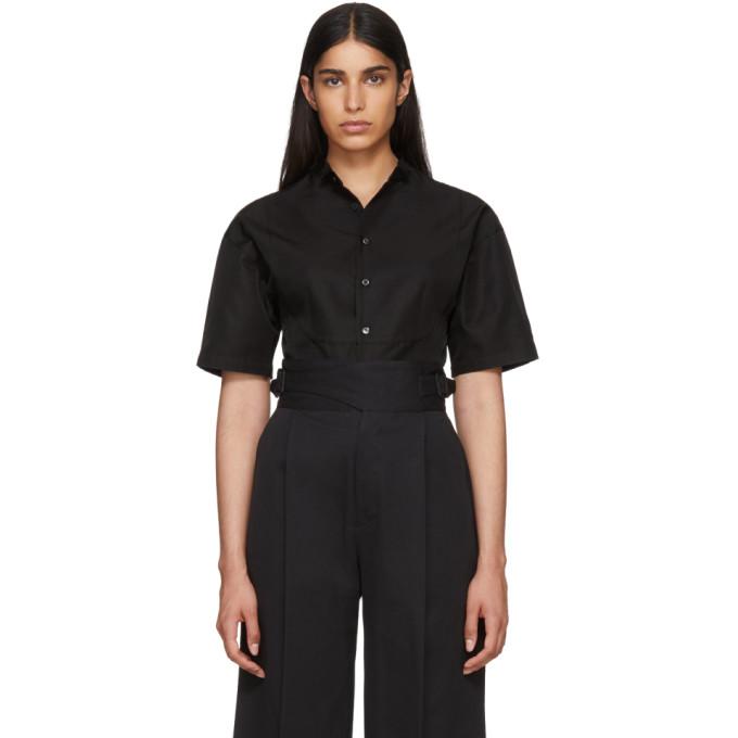 Image of Beautiful People Black Silk Gaba Tuxedo Shirt
