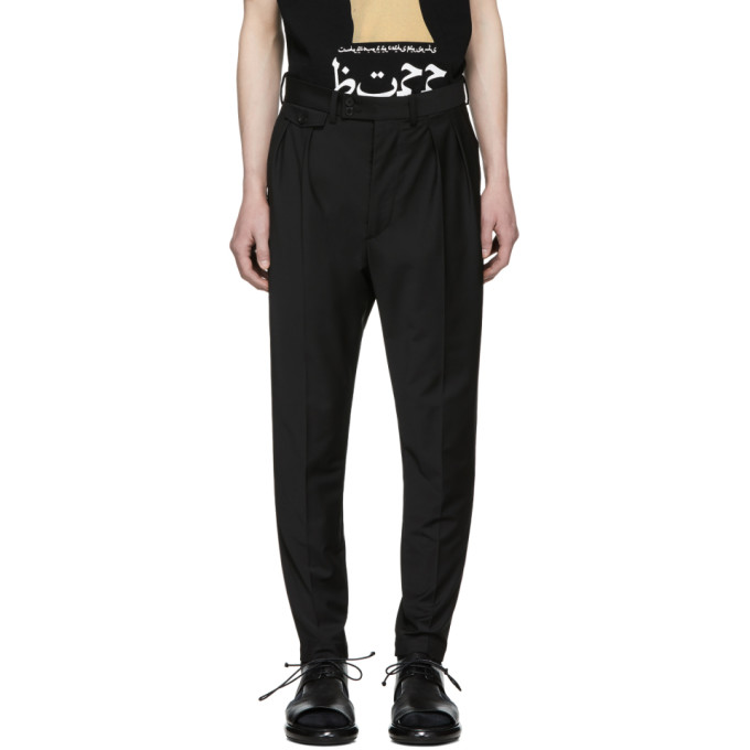 Image of ALMOSTBLACK Black Calf Zip Tapered Trousers
