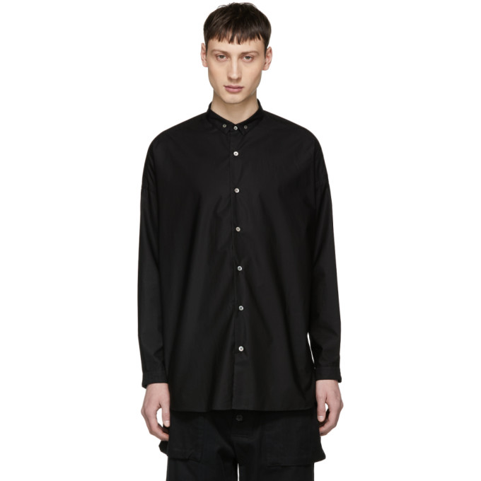 Image of ALMOSTBLACK Black Long Button-Down Shirt