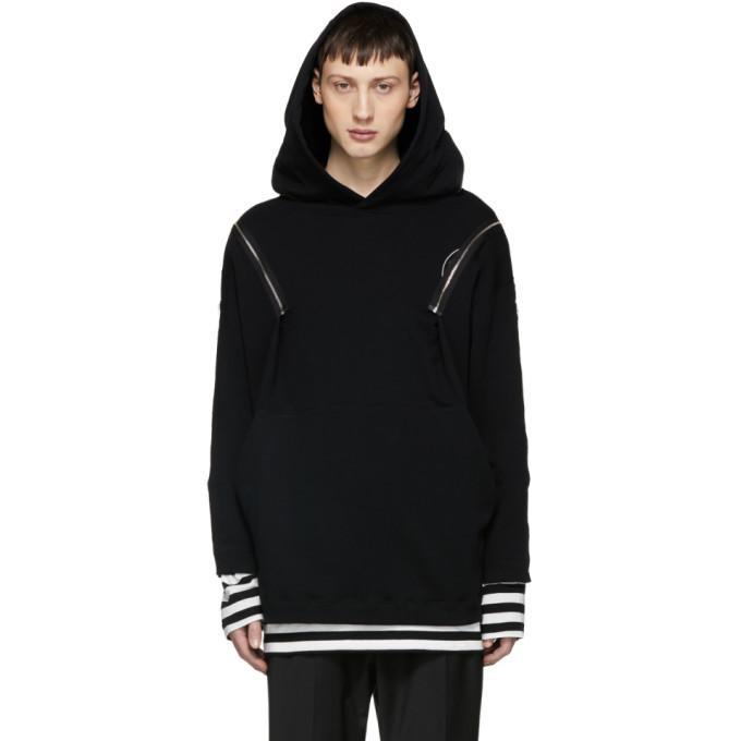 Image of ALMOSTBLACK Black Multi Zip Hoodie