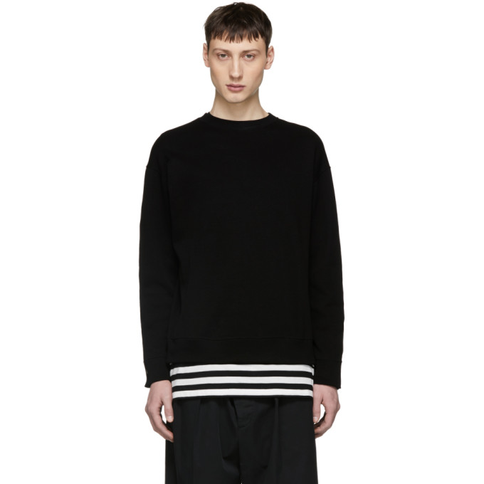 Image of ALMOSTBLACK Black Back Slit Zip Sweatshirt