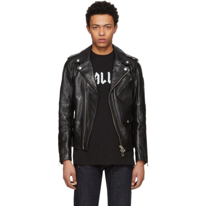 Image of Belstaff Black Leather Sidmouth Biker Jacket