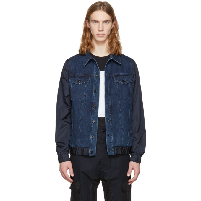 Diesel Black Gold Blue Denim & Nylon Jacket