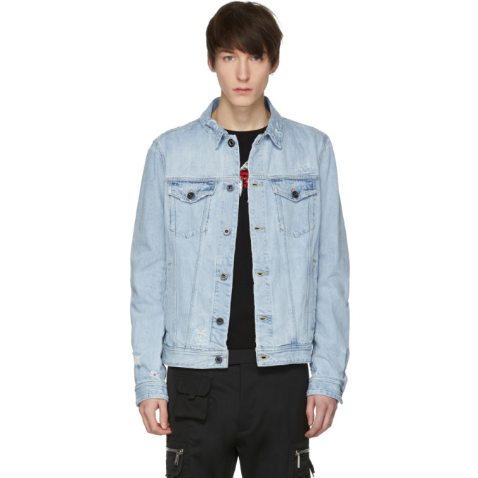 Diesel Black Gold Blue Distressed Denim Jacket