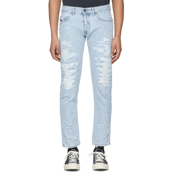 Diesel Black Gold Blue Distressed Slim Jeans