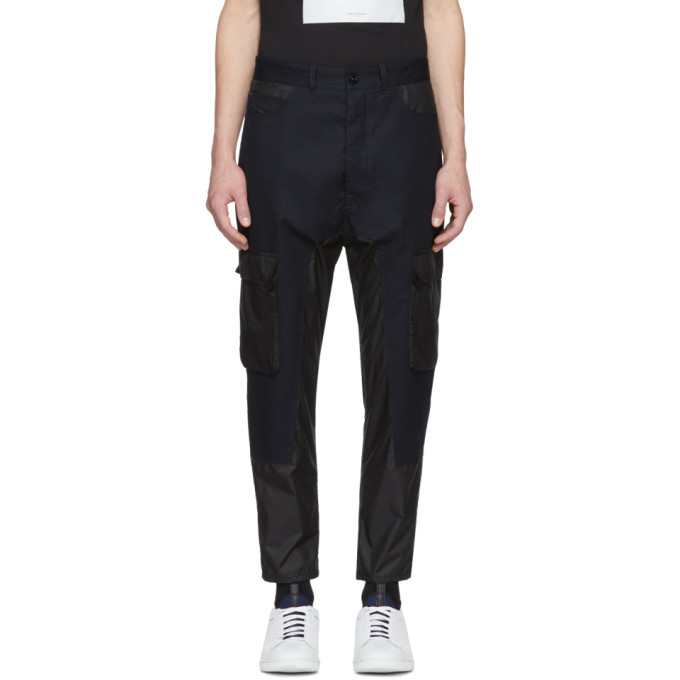 Diesel Black Gold Black & Navy Panelled Cargo Trousers