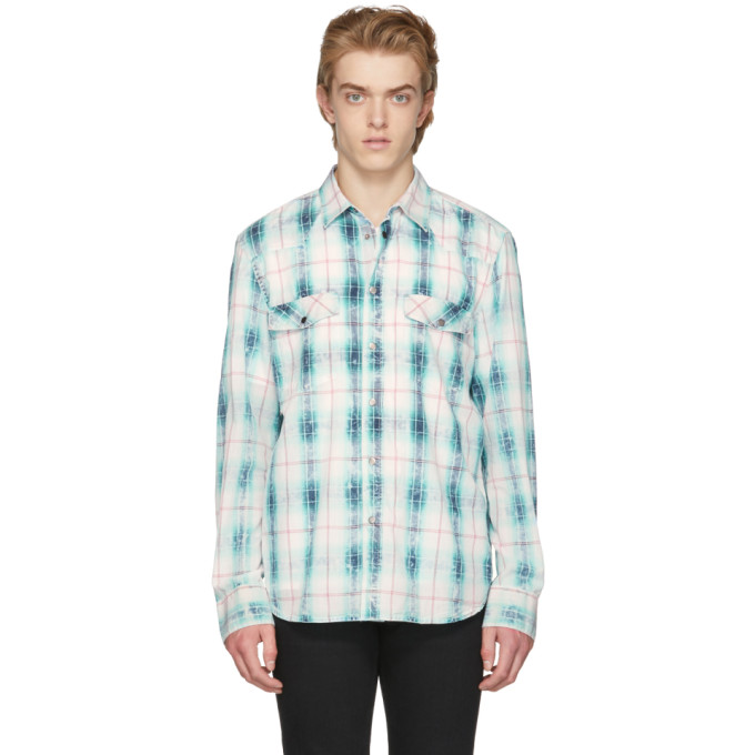Diesel Black Gold Blue Plaid Oversized Shirt