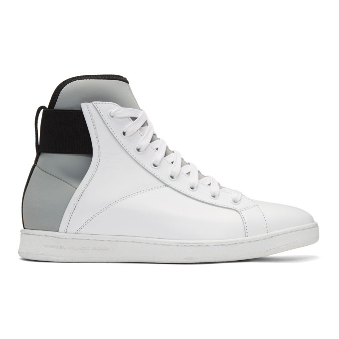 Diesel Black Gold White Leather & Neoprene High Top Sneakers