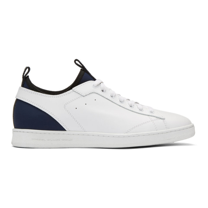 Diesel Black Gold White Leather & Neoprene Sneakers