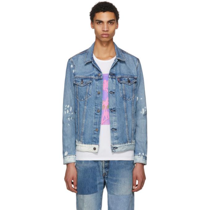 Levi's ブルー & ホワイト デニム トラッカー ジャケット