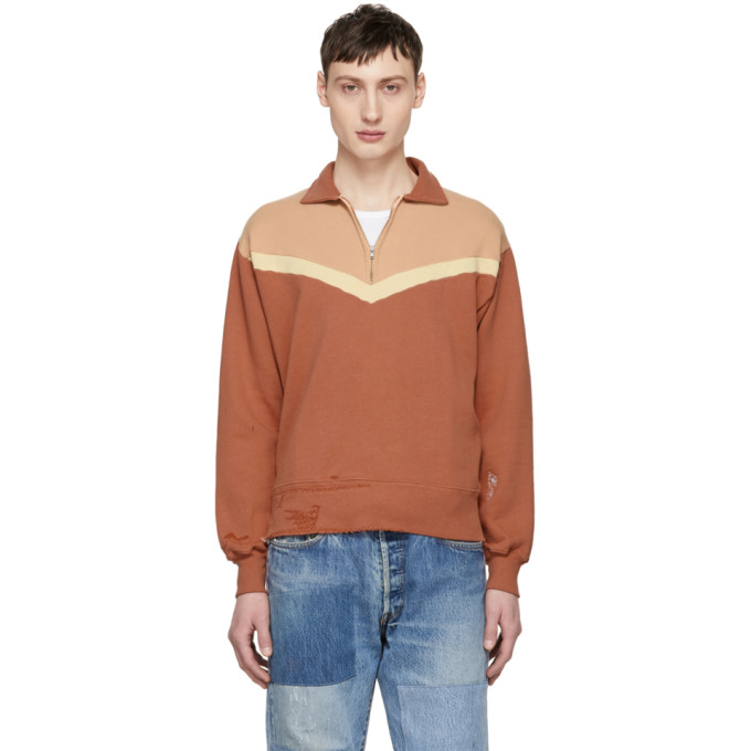Image of Levi's Vintage Clothing Orange Colorblock Zip-Up Sweater