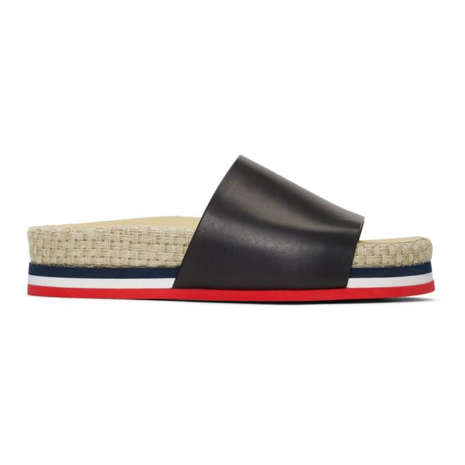 Moncler Black Evelyne Flat Sandals
