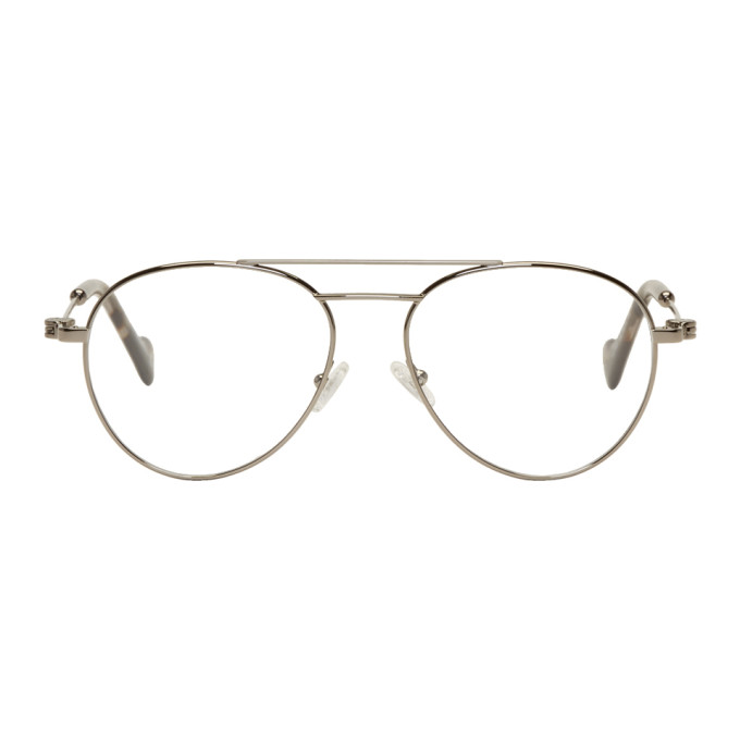 Moncler Gunmetal Aviator Glasses