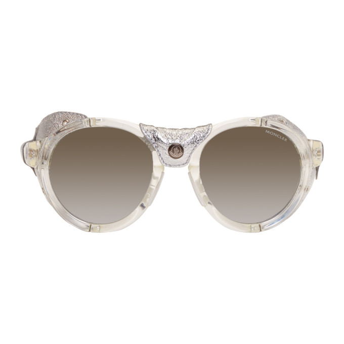 Moncler Clear & Silver Round Sunglasses