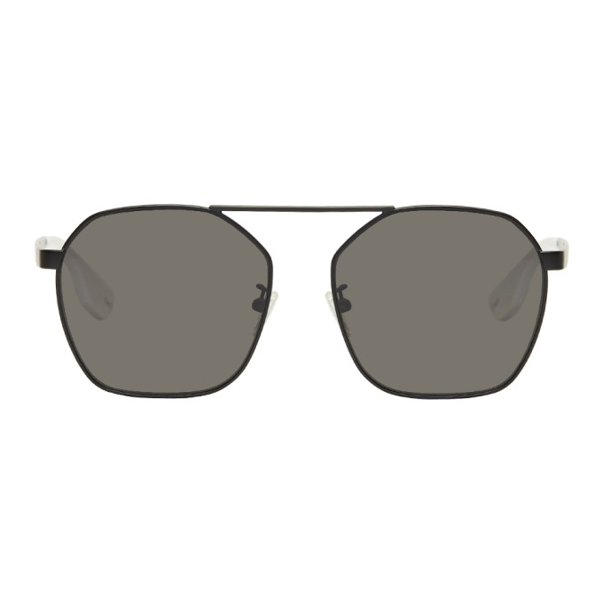 Image of McQ Alexander McQueen Black Aviator Sunglasses
