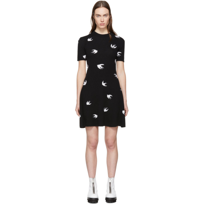 Image of McQ Alexander McQueen Black All-Over Mini Swallow Skater Dress