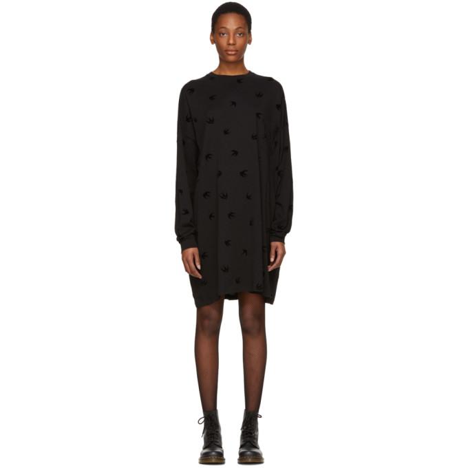 McQ Alexander McQueen Black Supersize Swallow T-Shirt Dress