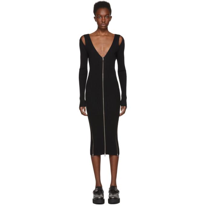 McQ Alexander McQueen Black Bodycon Zip Dress