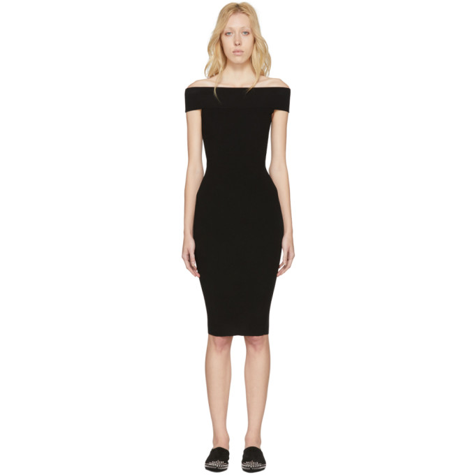 Image of McQ Alexander McQueen Black Bandeau Off-the-Shoulder Dress