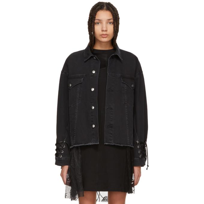 McQ Alexander McQueen Black Denim Oversized Laced Jacket