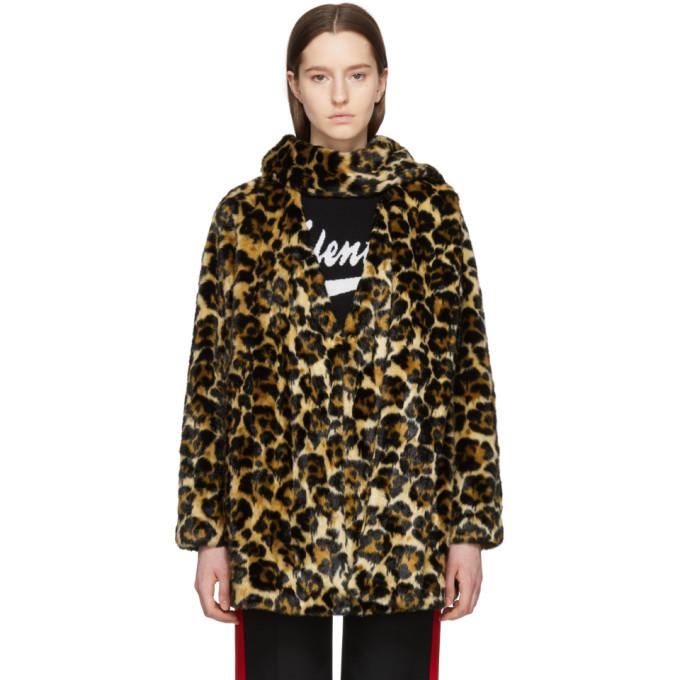 McQ Alexander McQueen Tan Leopard Faux-Fur Long Coat