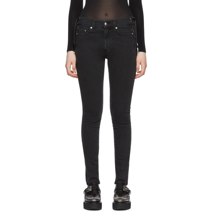 McQ Alexander McQueen Black Laced Harvey Jeans