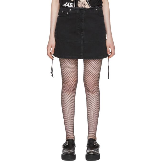 McQ Alexander McQueen Black Laced Denim Miniskirt