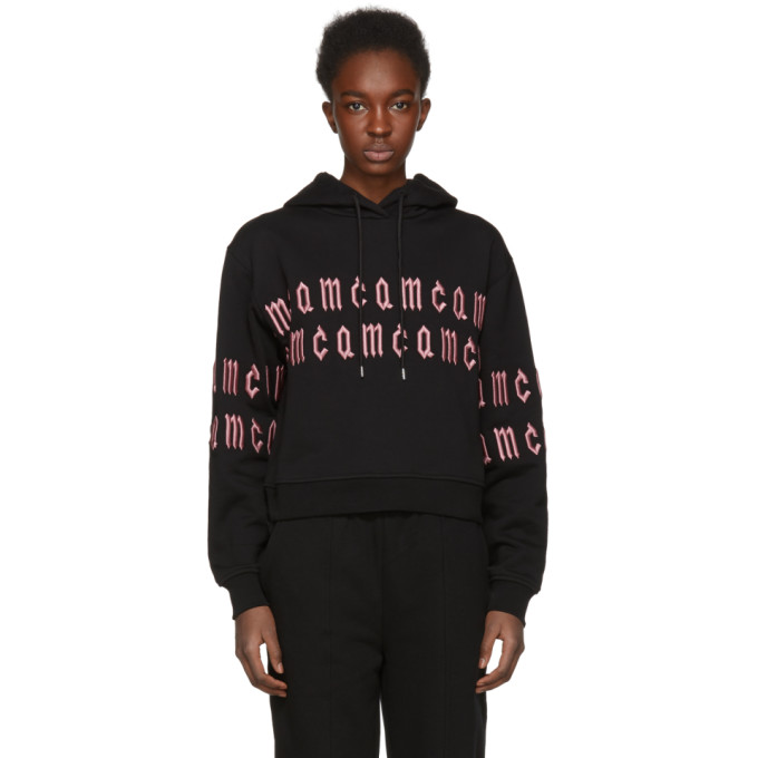 McQ Alexander McQueen Black Cropped Repeat Logo Hoodie