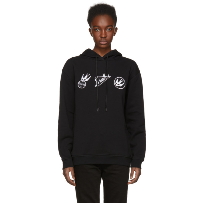 McQ Alexander McQueen Black Skater Swallow Badge Hoodie