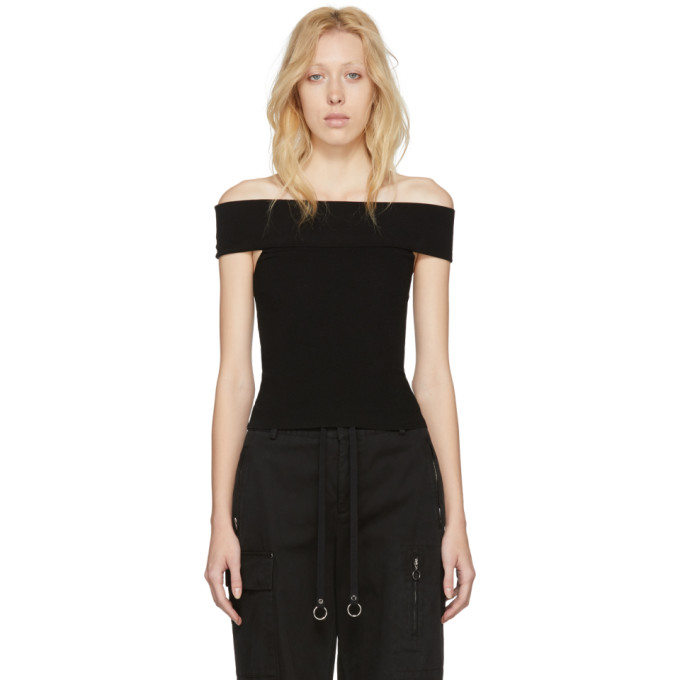 Image of McQ Alexander McQueen Black Bandeau Off-the-Shoulder Top