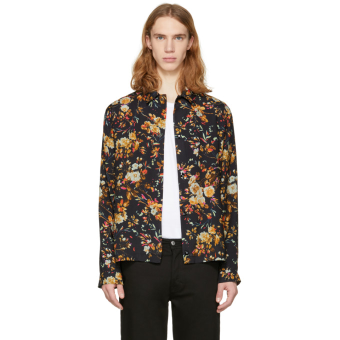McQ Alexander McQueen Black Floral Nick Shirt