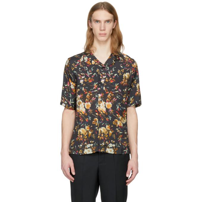 McQ Alexander McQueen Black Short Sleeve Floral Billy Shirt
