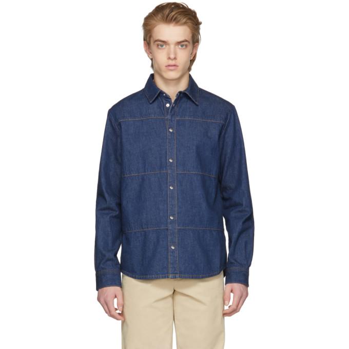 McQ Alexander McQueen Blue Denim Oddity Shirt