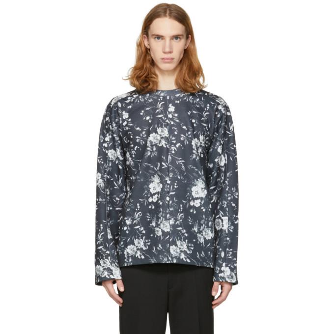 McQ Alexander McQueen Grey Floral Recycled Kimono Sweatshirt