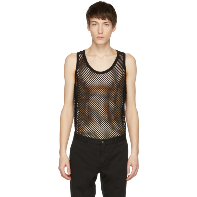 Image of Tiger of Sweden Black Mesh Cauley Tank Top