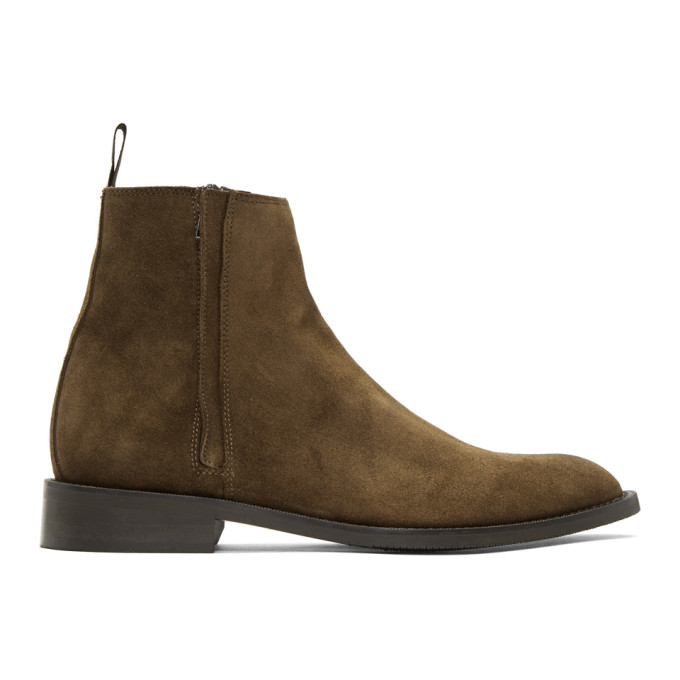 Image of Tiger of Sweden Brown Suede Rekry Zip Boots