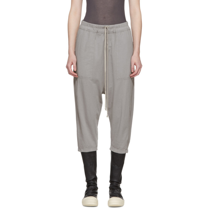 Rick Owens Drkshdw Grey Drawstring Cropped Lounge Pants