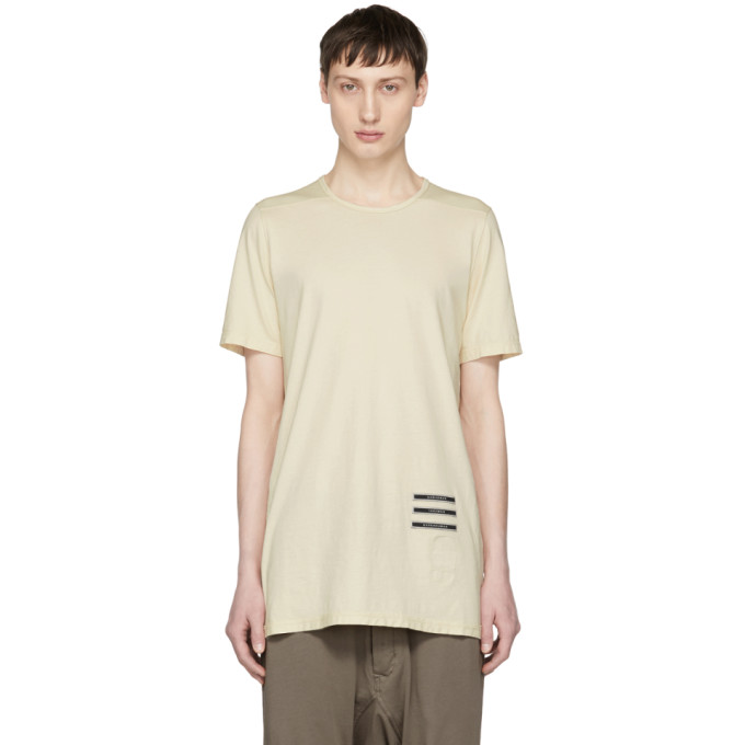 Image of Rick Owens Drkshdw Beige Text Patch Level T-Shirt
