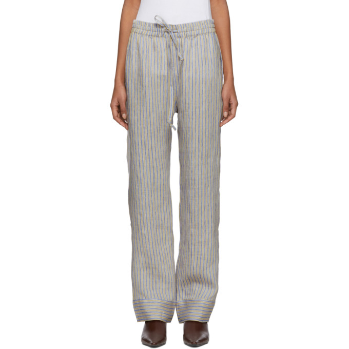 Image of Acne Studios Beige & Blue Stripe Marceline Sketch Lounge Pants