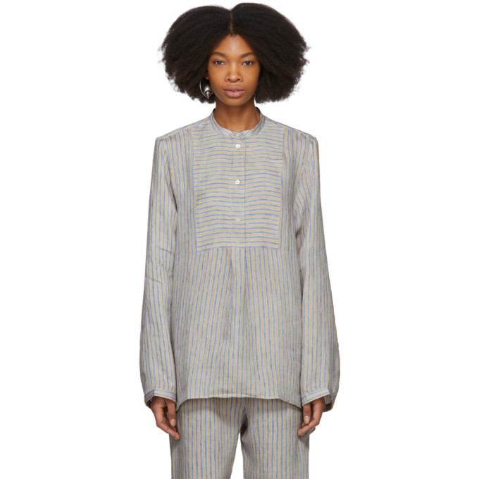 Image of Acne Studios Beige & Blue Striped Lysanne Sketch Blouse