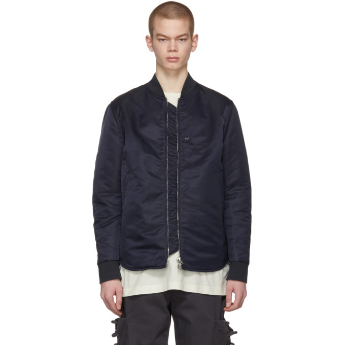 Acne Studios Blue Mylon Shine Bomber Jacket